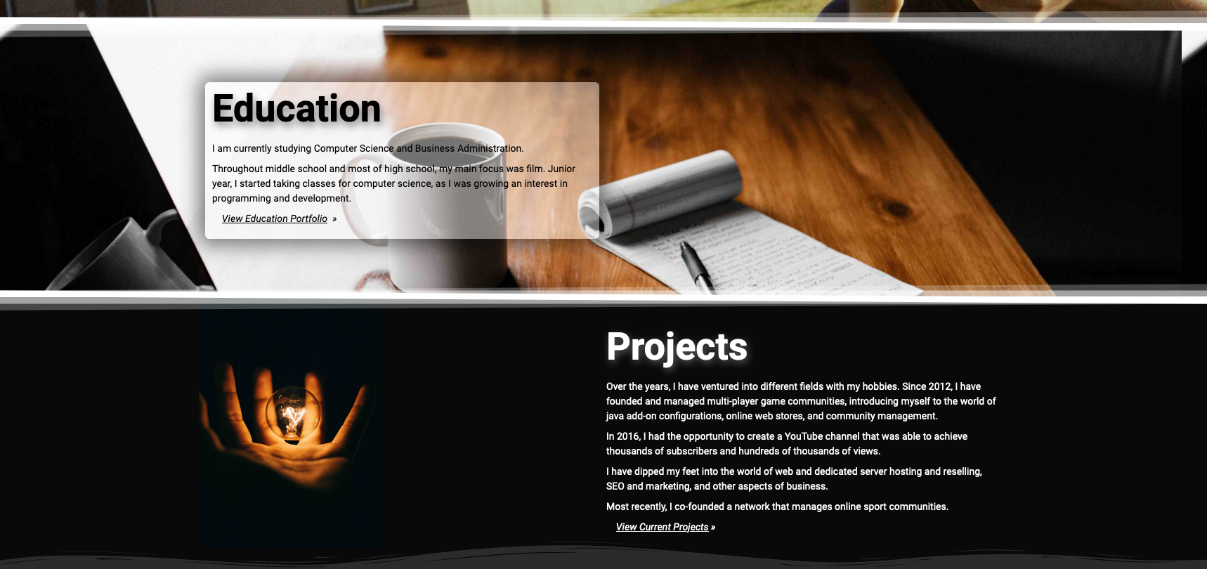Personal Site Main Page (3 of 3)